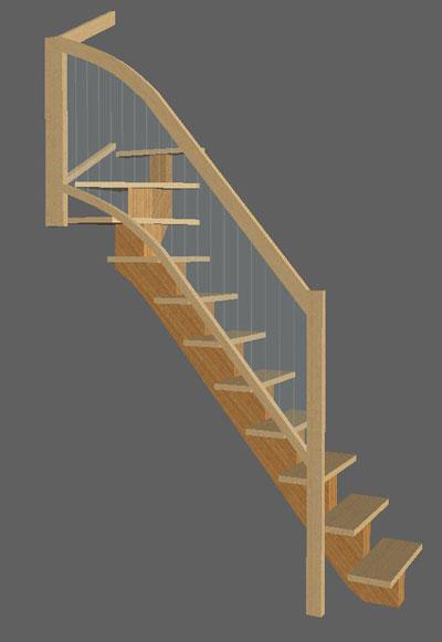 construire un escalier quart tournant haut avec un. Black Bedroom Furniture Sets. Home Design Ideas