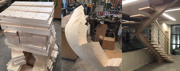 Fabriquer un escalier en bois courbe tr s haut de gamme for Fabriquer fenetre atelier bois