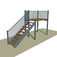 Metal Stair with Platform