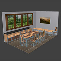Polyboard metal and wood dining room