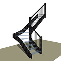 Quarter Turn stair with Winders Metal / Glass