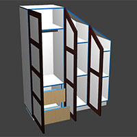 Polyboard sloped wardrobe model