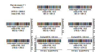 OptiCut labels with bar codes