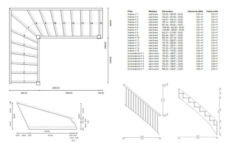 Liste de débit et plans dans StairDesigner