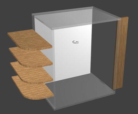 zones extérieures pour ajouter des étagères dans Polyboard