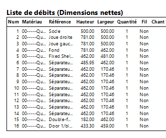 Edition de la liste de débit Polyboard