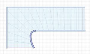 pieces courbes vues en plan dans StairDesigner
