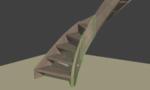 Limon courbe en vue 3D dans StairDesigner
